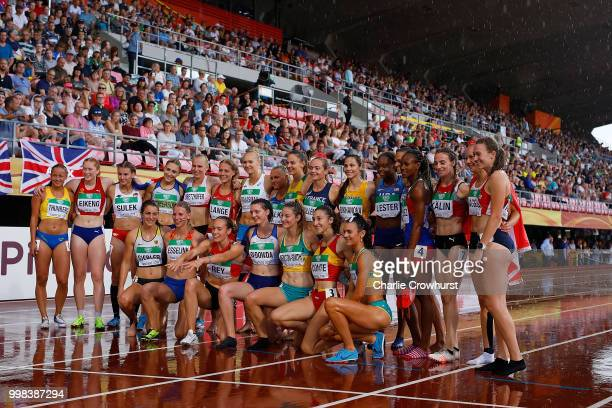 Participants in the women's heptathlon pose for a picture day four of The IAAF World U20 Championships on July 13, 2018 in Tampere, Finland.