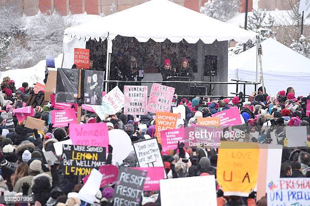 Participants in the Women's March on Main Street Park City on January 21 2017 in Park City Utah