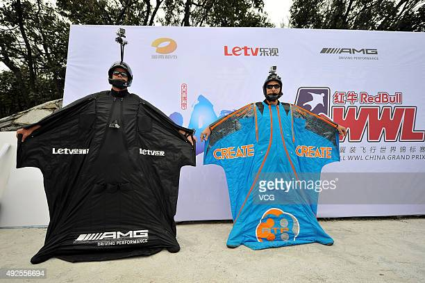 Participants in wingsuits pose during a test flying ahead of The 4th Red Bull WWL China Grand Prix on October 13 2015 in Zhangjiajie Hunan Province...