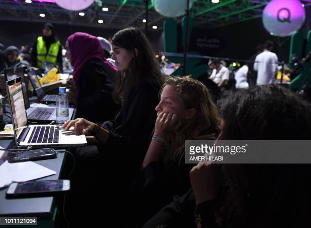 Participants including Saudi women attend a hackathon in Jeddah on August 1 prior to the start of the annual Hajj pilgrimage in the holy city of...