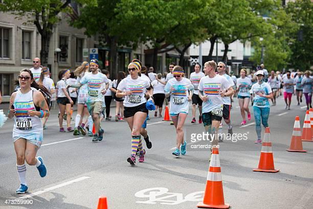 Participants Jogging, Walking in The Color Run Event Seattle Washington