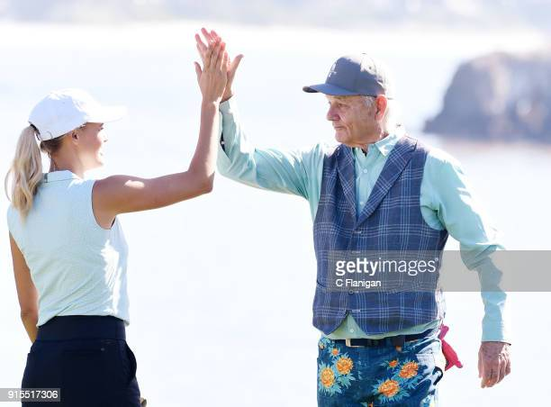 Participants Kelly Rohrbach and Bill Murray are seen during practice of the 3M Celebrity Challenge At The PGA Pebble Beach ATT Pro AM at Pebble Beach...