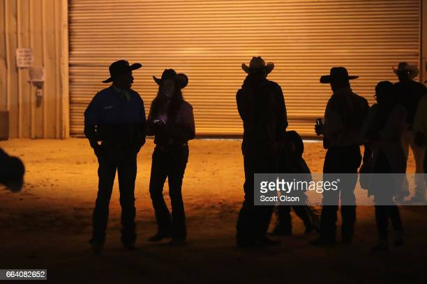 Participants leave the arena following a day of competition at the Bill Pickett Invitational Rodeo on April 1 2017 in Memphis Tennessee The Bill...
