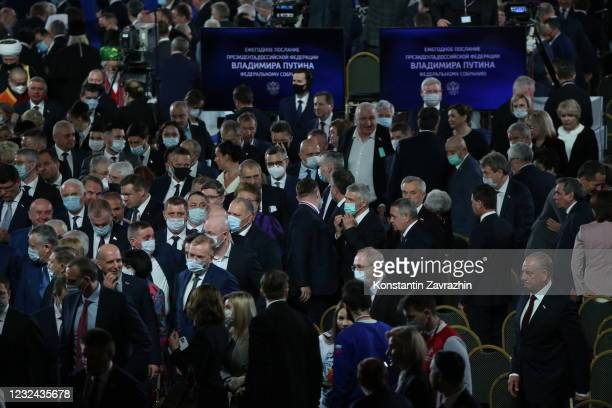 Participants leave the hall after Russian President Vladimir Putin's annual address to the Federal Assembly on April 21, 2021 in Moscow, Russia....