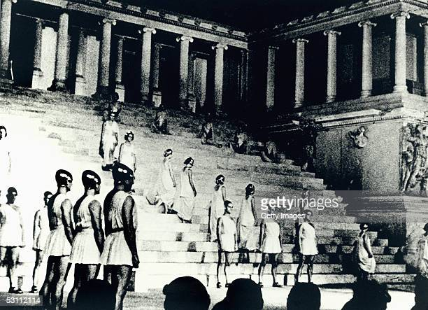 Participants line up in formation during the Olympic Festival at the Pergamon Museum on 1936 in Berlin Germany