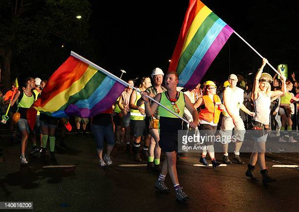 Participants march down Flinders Lane during the 2012 Sydney Gay Lesbian Mardi Gras Parade on March 3 2012 in Sydney Australia