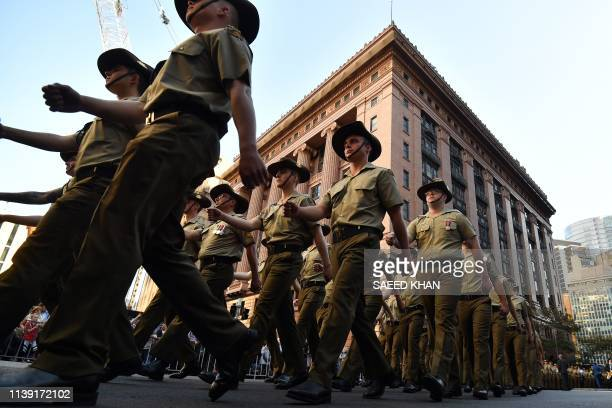 Participants march during the Anzac Day parade in Sydney on April 25, 2019. - Anzac Day marks the April 25, 1915 landing of Australian and New...