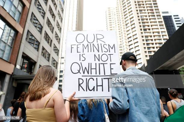 Participants march during the Sydney International Women's Day march on March 10 2018 in Sydney Australia International Women's Day is an annual...