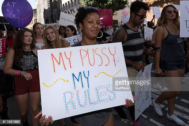 Participants march in downtown Los Angeles during the 2nd Annual Amber Rose SlutWalk Festival in Los Angeles California October 1 2016 The event...