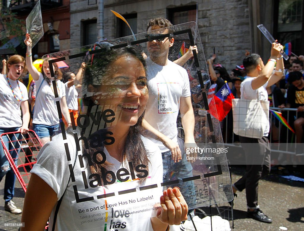 Participants march in the annual Gay Pride Parade in New York : News Photo