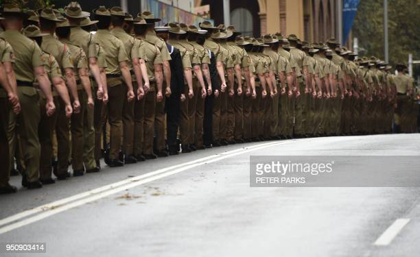 Participants march in the Anzac Day parade in Sydney on April 25 2018 Tens of thousands of Australians and New Zealanders turned out on April 25 for...