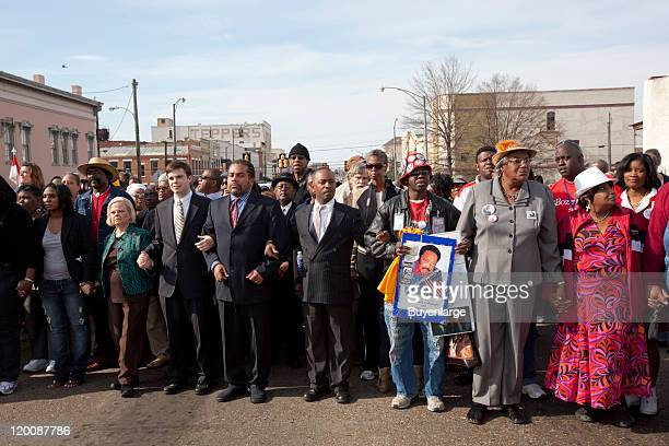 Participants march on the 45th Anniversary of the Civil Rights March from Selma to Montgomery Selma Alabama 2010