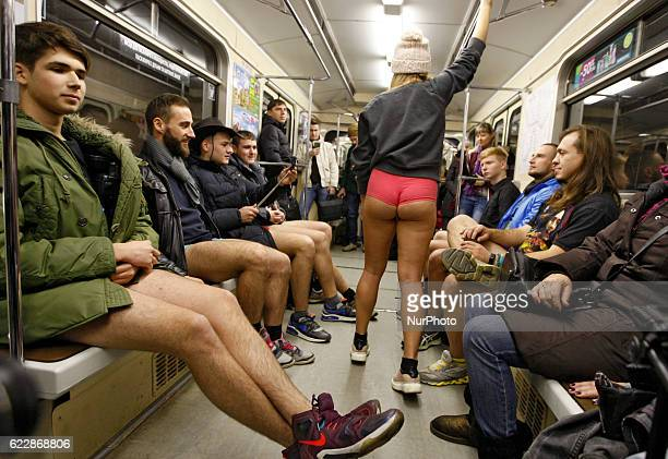Participants not wearing pants ride the subway during flashmob quotThe ride in underpants in Kiev's subwayquot in KievUkraine on12 November 2016 The...