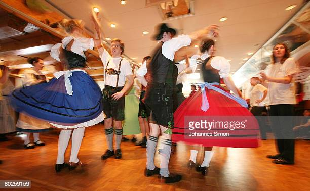 Participants of a dancing lesson are seen during the Bavarian traditions youth day at tavern Hipp on March 15 2008 in Hofstetten near Landsberg am...