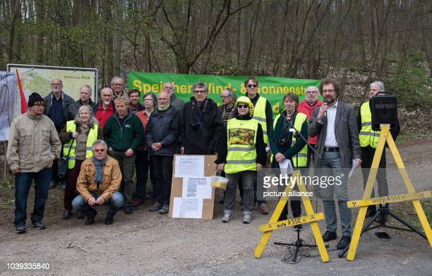 Participants of a demonstration of the 'AsseIIKoordinationskreis' stand in front of the Asse shaft in Remlingen Germany 4 April 2017 Activists are...