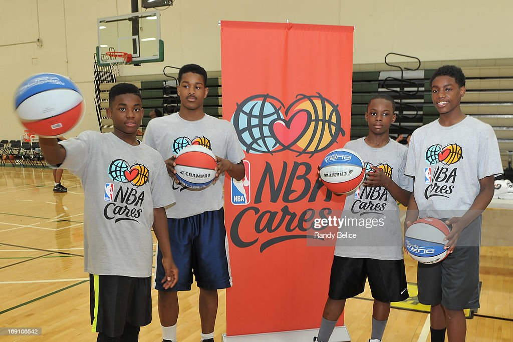 Participants of a NBA Cares Basketball Clinic as part of the 2013 NBA Draft Combine pose for a picture on May 18, 2013 at Quest Multiplex in Chicago, Illinois.