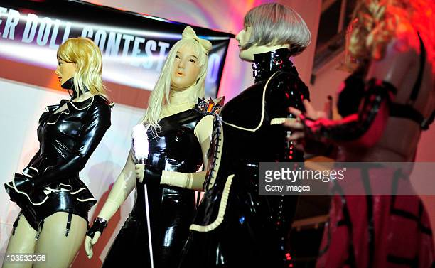 Participants of a RubberdollContest wait for the votes at the Latexpo 2010 at the Edelfettwerk on August 21 2010 in Hamburg Germany Rubberdolls are...