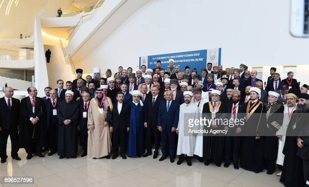 Participants of an international conference titled '2017 Year of Islamic Solidarity Interfaith And Intercultural Dialogue' pose for a family photo in...