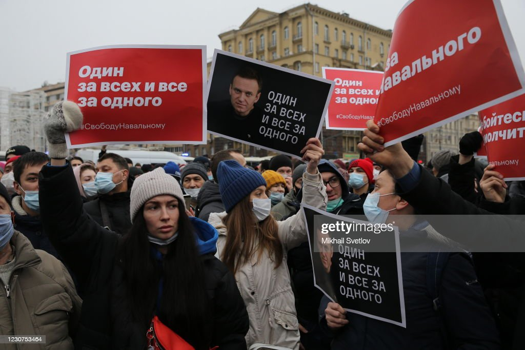 Demonstrations Follow Navalny Detention : News Photo