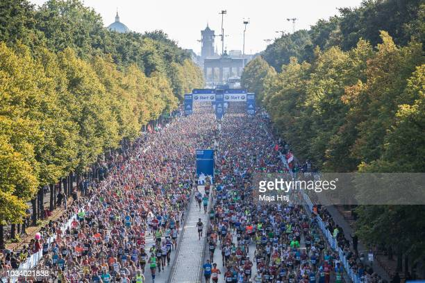 Participants of Berlin marathon run after the start on September 16 2018 in Berlin Germany