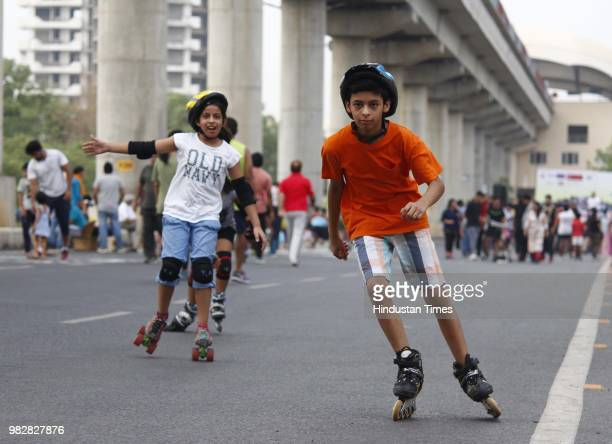 Participants of Raahgiri take part in various events at Sector 55 56 Golf Course Road on June 24 2018 in Gurugram India Various activities seen such...
