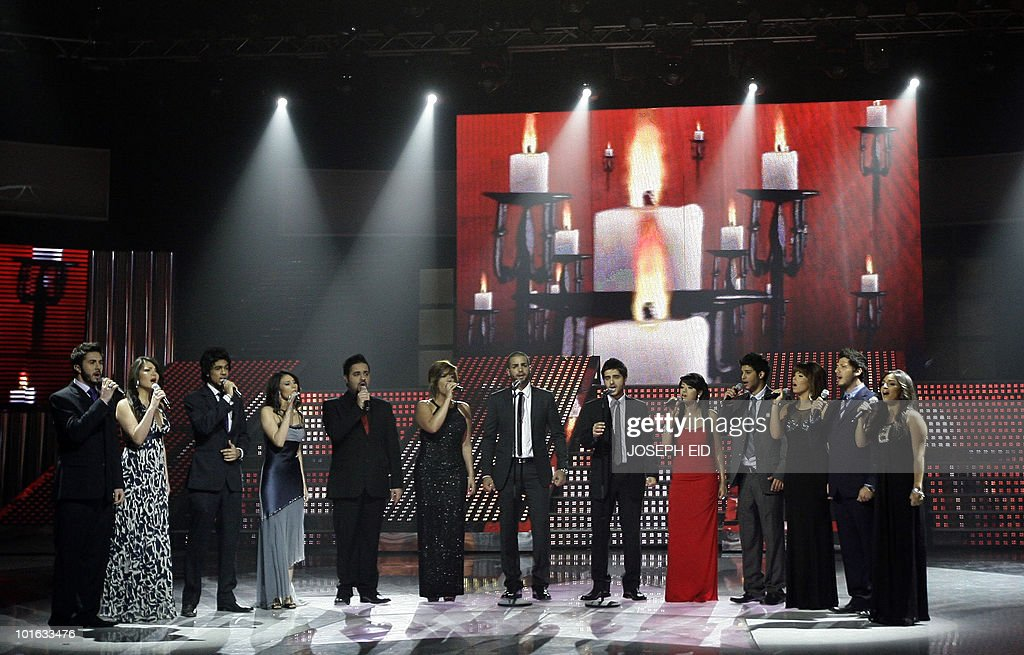 Participants of Star Academy perfom during the final of the highly successful pan-Arab television show, produced by Lebanese Broadcasting Corporation International (LBCI), at its studios in Adma, north of Beirut, late on June 4, 2010.