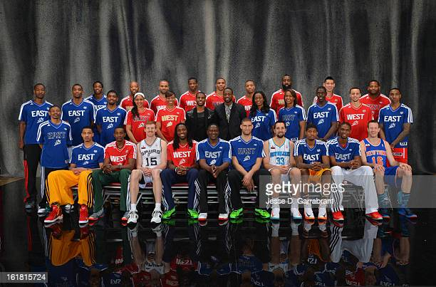 Participants of State Farm AllStar Saturday Night poses for a portrait as part of 2013 NBA AllStar Weekends at Toyota Center on February 16 2013 in...