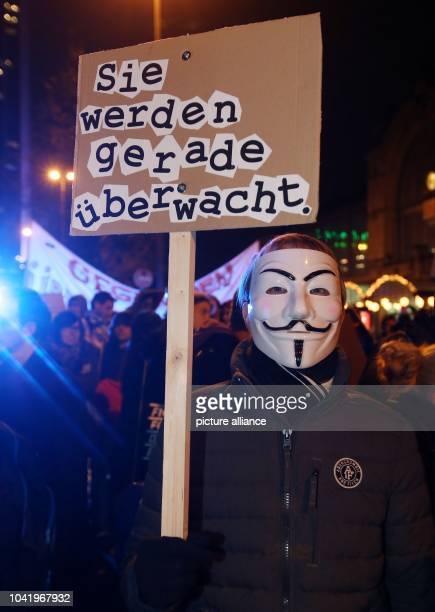 Participants of the 31st Chaos Communication Congress demonstrate at the Congress Center and in the city center of Hamburg Germany 29 December 2014...