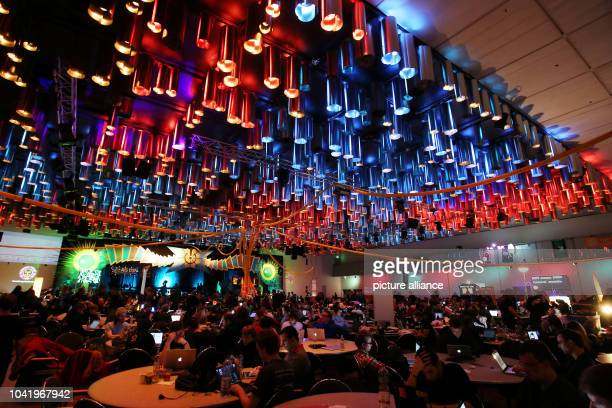 Participants of the 31st Chaos Communication Congress sit in front of their computers at the Congress Centrum in Hamburg Germany 29 December 2014 The...