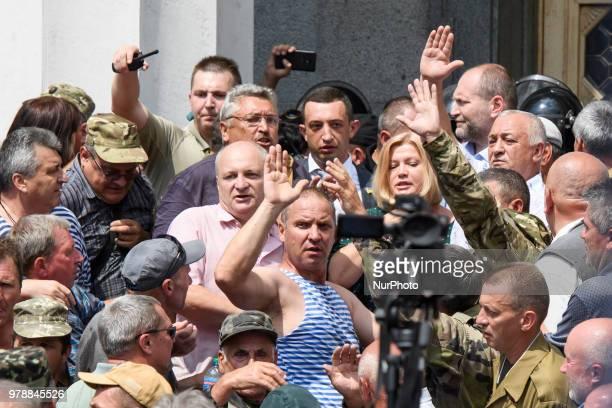 Participants of the action near the Verkhovna Rada of Ukraine in Kiev Ukraine on 19 June 2018