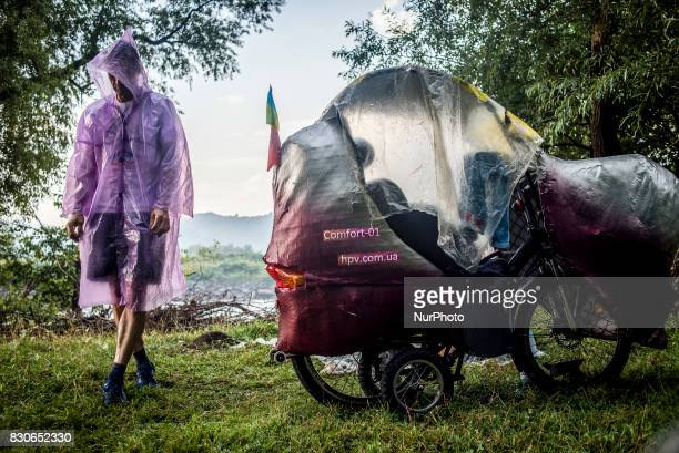 Participants of the annual camp of bicycle constructors during the bike rally in Carpathian mountains and Transcarpathia Ukraine on 1st 11th of...