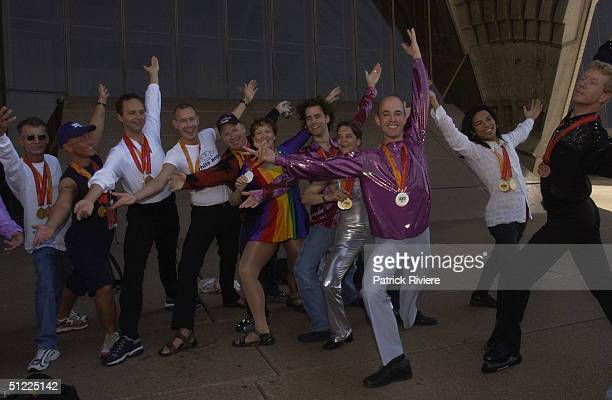 Participants of the Australian Gay Games 2002 were on hand to celebrate their personal best and posed with their medals during a photocall at the...
