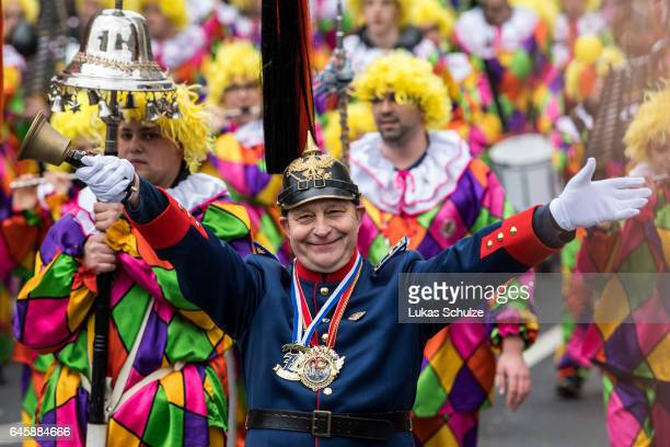 Participants of the carnival called 'Jeck' are pictured during the annual Rose Monday parade on February 27 2017 in Dusseldorf Germany Political...