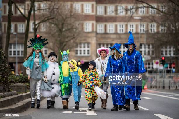 Participants of the carnival called 'Jeck' are waiting for the annual Rose Monday parade on February 27 2017 in Dusseldorf Germany Political satire...