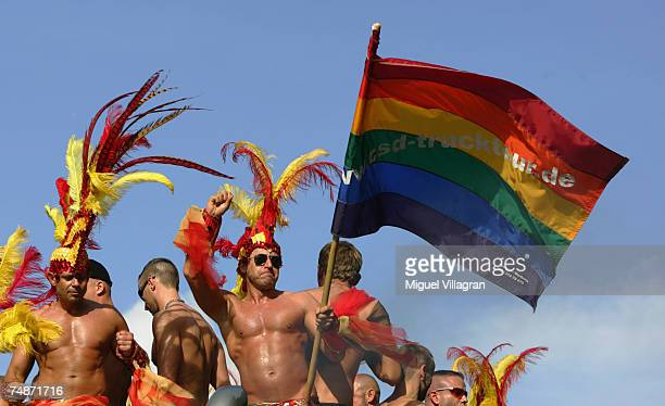 Participants of the Christopher Street Day gay and lesbian pride parade celebrate on June 23 2007 in the streets of Berlin Germany Organizers expect...