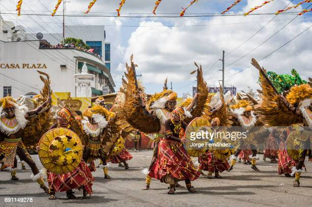 Participants of the dance contest during the celebration of Dinagyang in homage to The Santo Niño Iloilo Philippines Asia Participants of the dance...