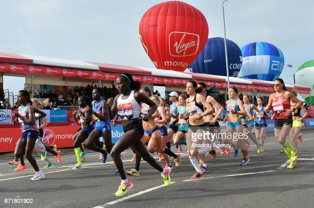 Participants of the elite women's race at the start of the Virgin Money London Marathon in London England on April 23 2017