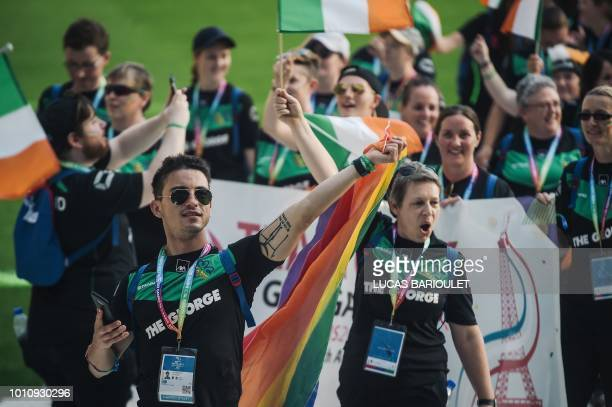 Participants of the Irish team march onto the field during the opening ceremony of the 2018 Gay Games edition at the Jean Bouin Stadium in Paris on...