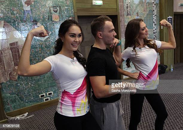Participants of the Miss Russia 2014 national beauty contest pose for a photo during a karatedo masterclass n February 20 2014 in Konakovo Russia The...
