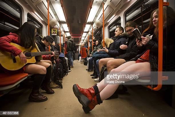 Participants of the No Pants Subway Ride ride a train on January 11, 2015 in Prague, Czech Republic. The annual event, in which participants board a...
