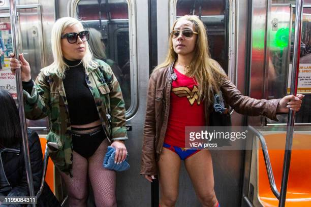 Participants of the No Pants Subway Ride take a ride on the NYC subway system on January 12, 2020 in New York City. The annual event, in which...