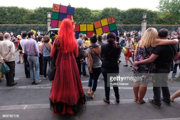 Participants of the Paris Gay Pride Parade or known as Marche des Fiertés LGBT in France marches through the streets on June 24 2017 in Paris France