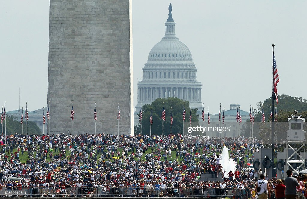 Participants of the 'Restoring Honor' rally are shown at the National Mall on August 28, 2010 in Washington, DC. Fox News personality Glenn Beck held the rally on the 47th anniversary of the 'I Have a Dream' speech of Dr. Martin Luther King Jr. to 'restore America.'