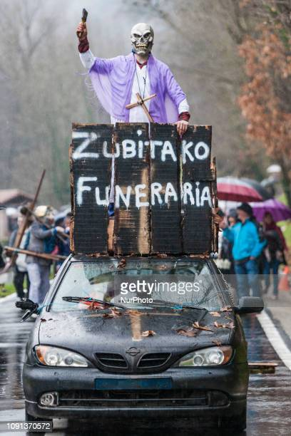 Participants of the traditional Zubieta carnival dressed as quotjoaldunaksquot marching through the streets of the village on January 29 2019 in...
