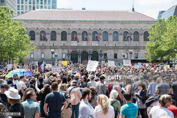 Participants of the Wayfair walkout gather in Copley Square on June 26 2019 in Boston Massachusetts Wayfair sold more than $200000 in bedroom...