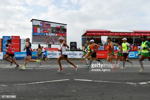 Participants of the World Para Athletics Marathon Cup race at the start of the Virgin Money London Marathon in London England on April 23 2017