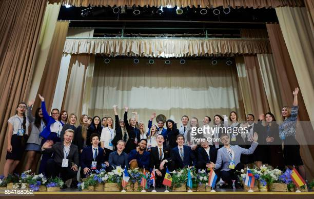 Participants of Youth For Peace pose for a group photo as 28 international law students from the United Kingdom Belarus Russia Ukraine Armenia...