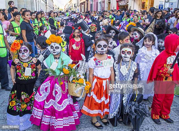 Participants on a carnival of the Day of the Dead in Oaxaca Mexico