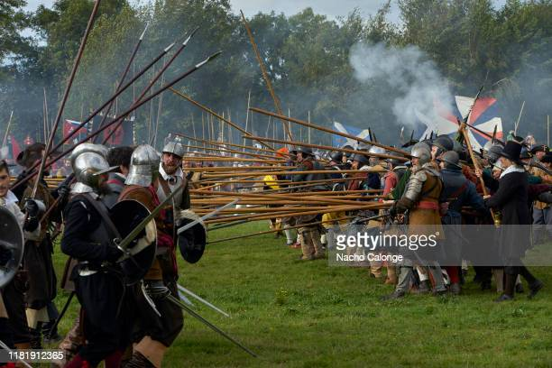 Participants on both sides act out the battle on October 18 2019 in Groenlo Netherlands For three days the streets of the village of Groenlo go back...