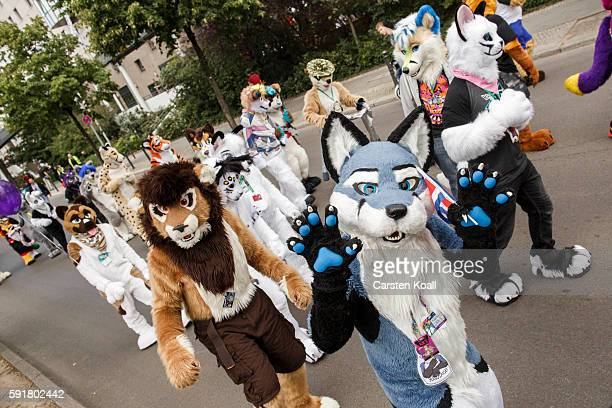 Participants or furries as they prefer to be called attend a march on the second day of the 2016 Eurofurence furries gathering on August 18 2016 in...